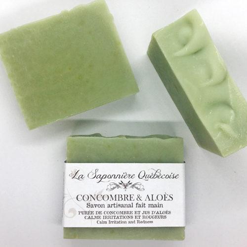 savon naturel et artisanal fait main avec purée de concombre et jus d'aloès
